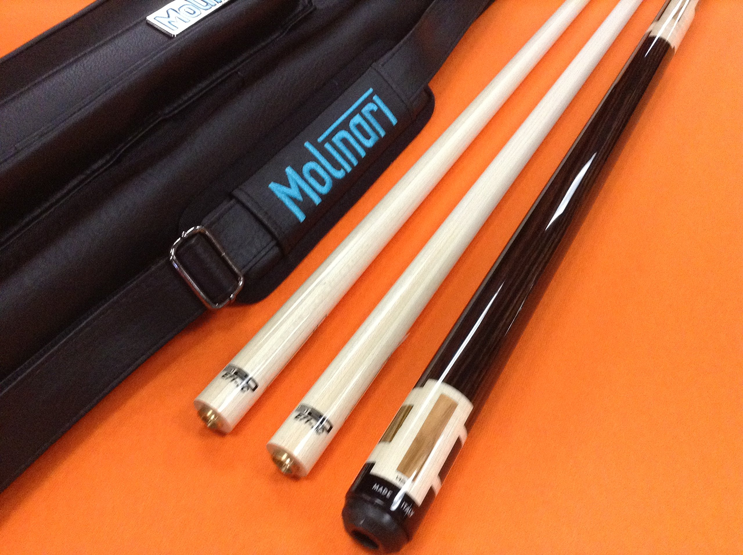 LONGONI CAROM CUE EVOLUZIONE WITH TWO S20 SHAFTS & MOLINARI CASE
