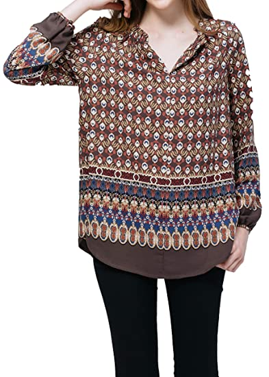 cb7ac39f90203 Pleione Womens Print Long Sleeve Blouse in Ruched Round Split Neck GRYFUSCH  XS