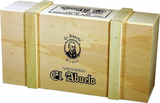 Lote de Turrones artesanos en Caja de Madera blanca (nº 2), El Abuelo. 3,2 KG - Pack de Turrón (6 x 300 G, 1 x 600 G, 1 x 500 G, 2