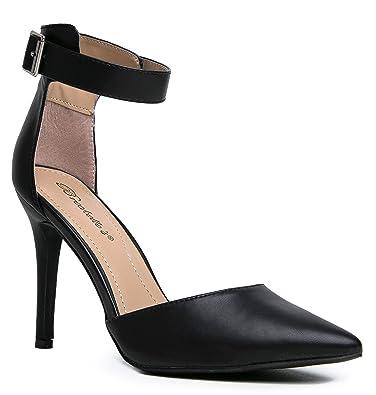 Amazon.com | Women's Pointed Toe Ankle Strap High Heel Stiletto ...