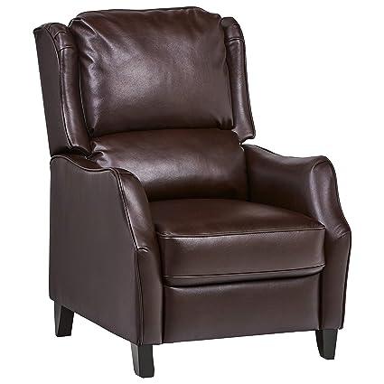 Enjoyable Ravenna Home Push Back Faux Wingback Leather Recliner 29 9W Brown Spiritservingveterans Wood Chair Design Ideas Spiritservingveteransorg