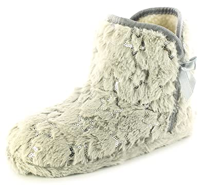6f501b186267 Girls Childrens Silver Grey Slipper Boots with Satin Bow Trim. - Silver  Grey -