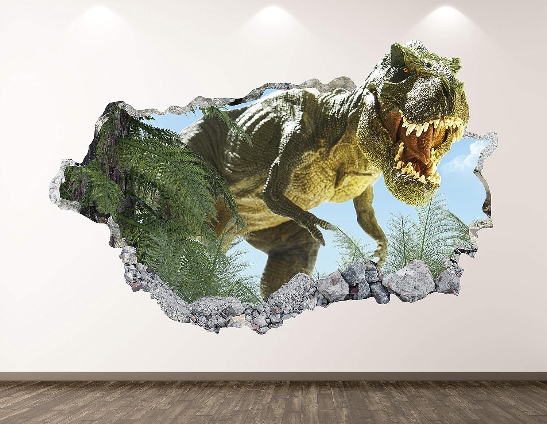 "West Mountain T-Rex Dinosaur Wall Decal Art Decor 3D Jungle Smashed Sticker Poster Kids Room Mural Custom Gift BL175 (42"" W x 24"" H)"