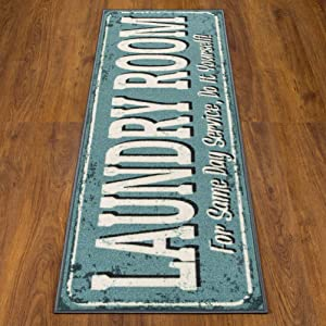 """Ottomanson Laundry Collection Area Rug, 20"""" X 59"""", Blue"""