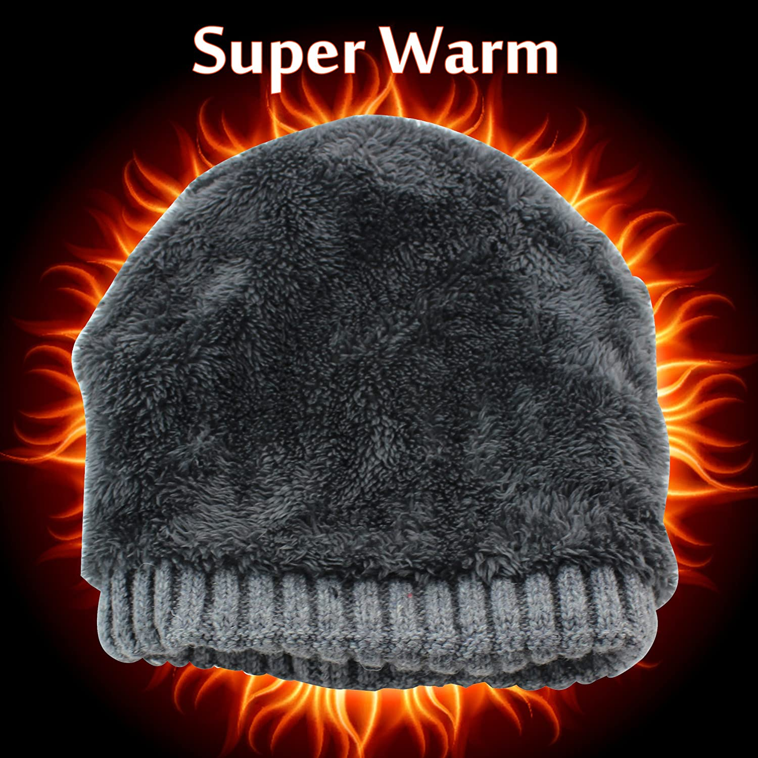 CAMOLAND Mens Fleece Wool Cable Knit Winter Beanie Hat EWH001-BK 91440a80d7ee