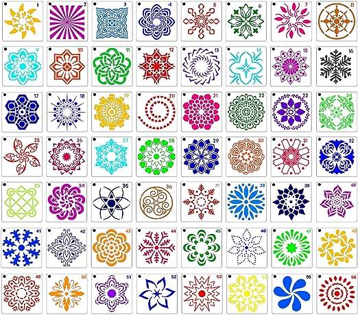 56 Pack Mandala Stencils Painting Drawing Template for Rock Wood Painting Art Projects Mandala Dotting Tools Set