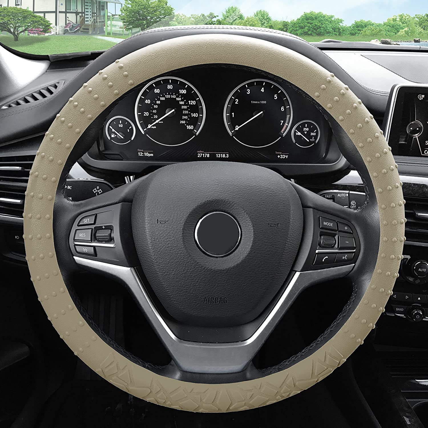 Silicone W. Nibs /& Pattern Massaging Grip Wheel Cover Color-Fit Most Car Truck SUV or Van FH Group FH3002PURPLE Purple Steering Wheel Cover