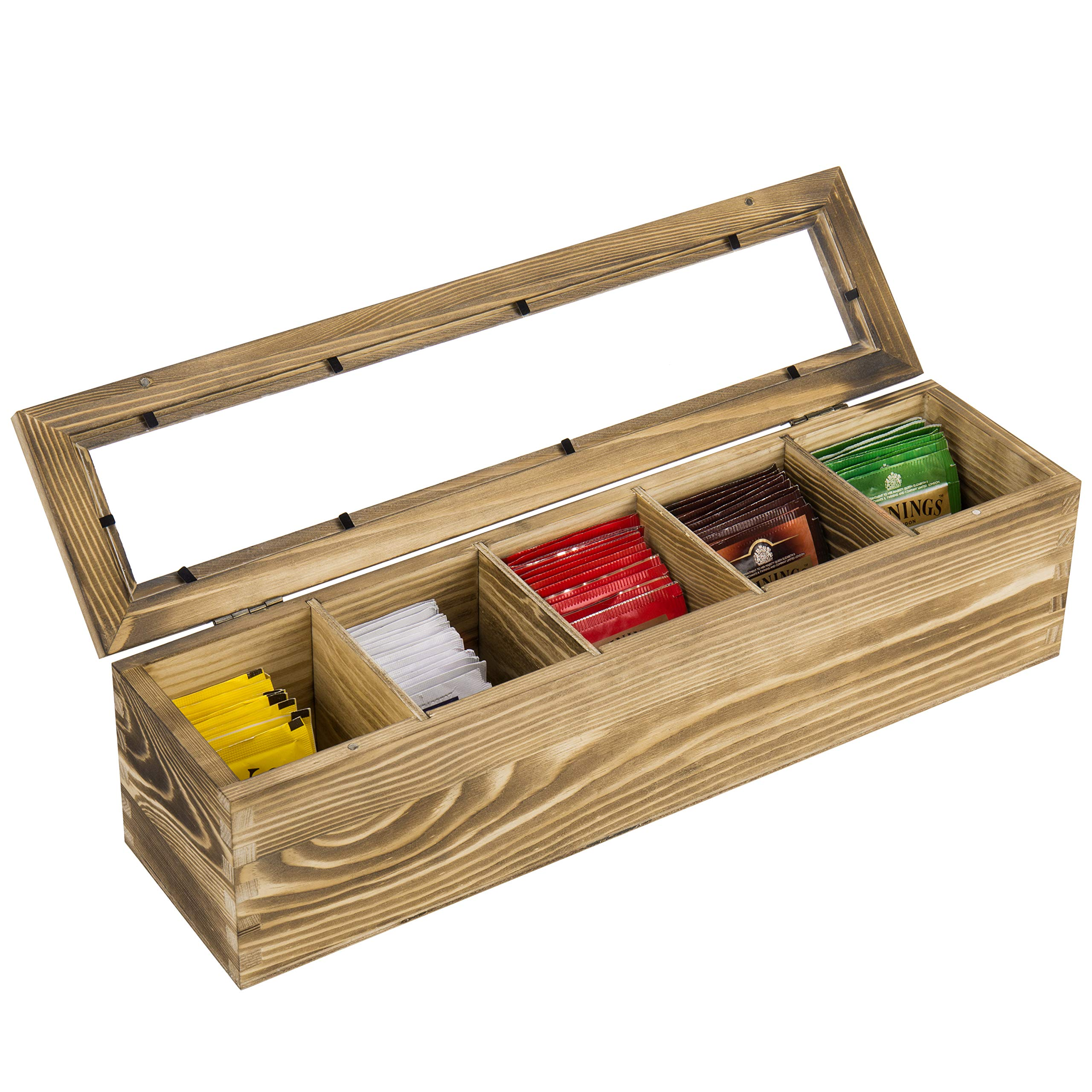 MyGift 5-Compartment Vintage Brown Wood Tea Storage Box with Clear Lid by MyGift