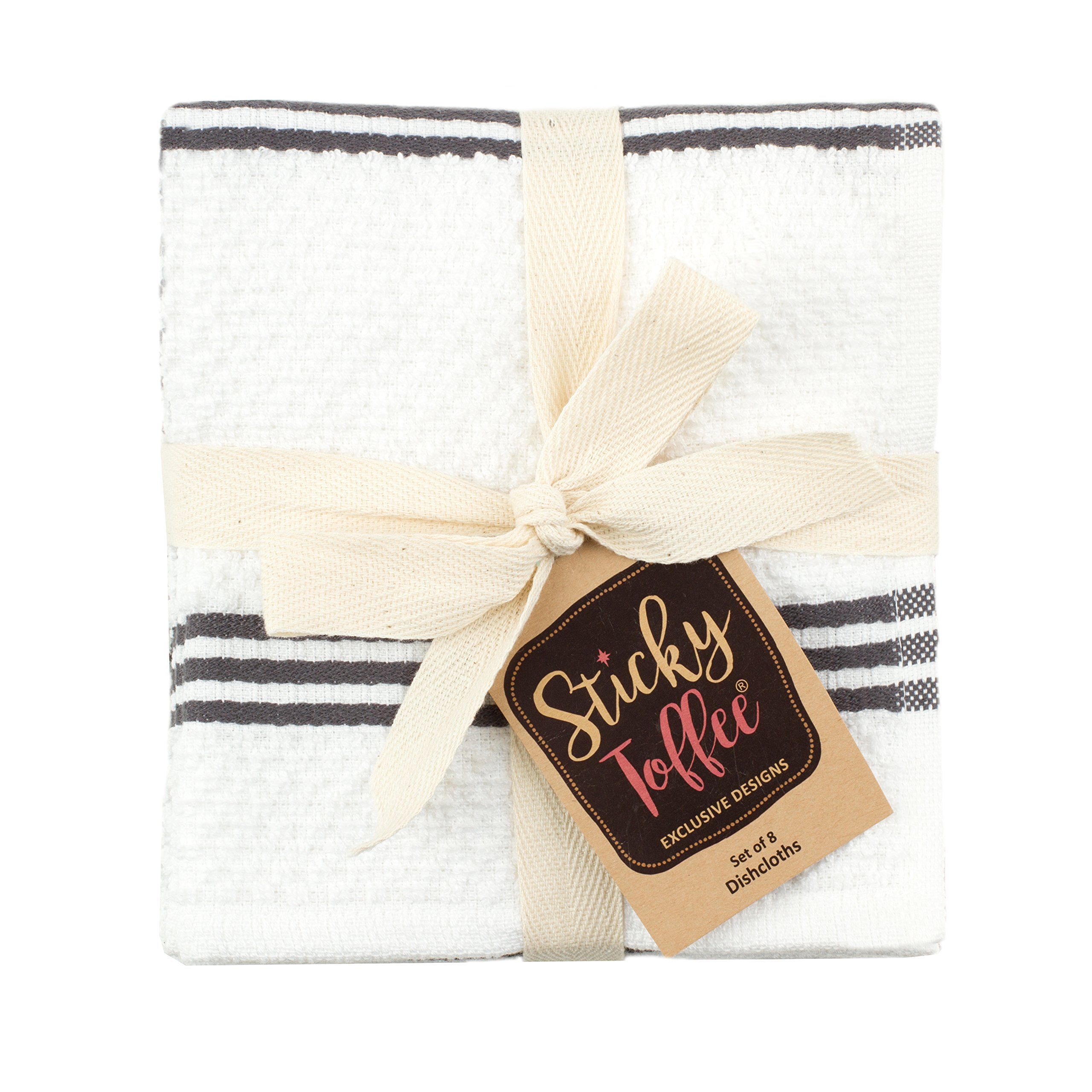 Sticky Toffee Cotton Terry Kitchen Dishcloth, Gray, 8 Pack, 12 in x 12 in by Sticky Toffee (Image #5)