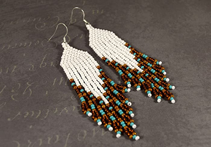 20538fd474f8b Amazon.com: Long beaded earrings, Seed beads earrings, boho style ...