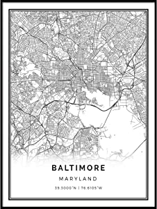 Squareious Baltimore map Poster Print   Modern Black and White Wall Art   Scandinavian Home Decor   Maryland City Prints Artwork   Fine Art Posters 9x11