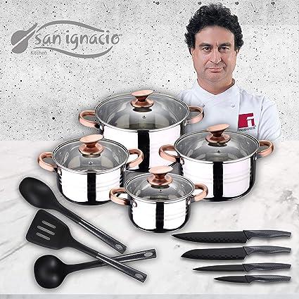 San Ignacio Premium Set de Bateria 8 Piezas + 4 Cuchillos 3 Utensilios de Cocina,