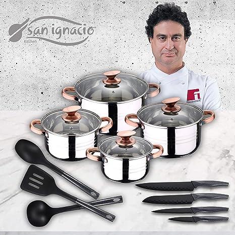 San Ignacio Premium Set de Bateria 8 Piezas + 4 Cuchillos 3 Utensilios de Cocina, Cobre