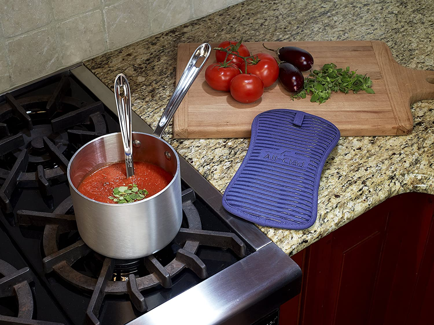 6-inches by 10-inches All-Clad Textiles Deluxe Heat and Stain Resistant Pot Holder Pewter Grey John Ritzenthaler Co us kitchen JOBP7 39270 Silicone Treated Heavyweight 100-Percent Cotton Twill Hot Pad Machine Washable