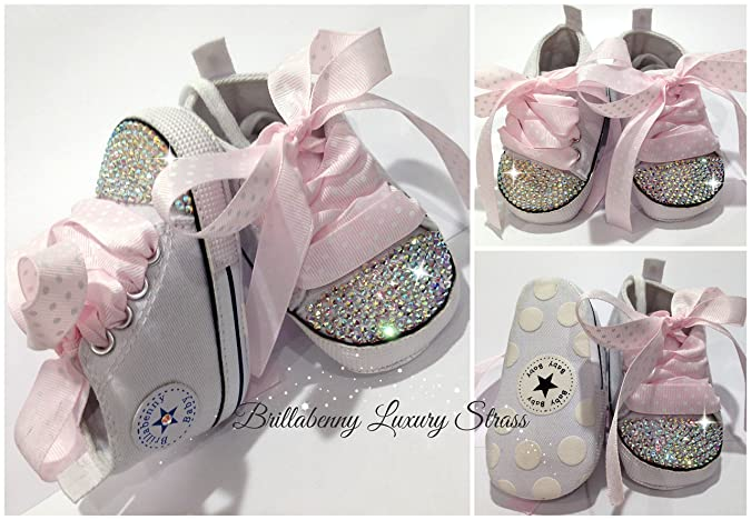 23d9ccaefe676 BrillaBenny Scarpine Scarpe Sneakers Strass Bianche Bimba Bimbo Neonato Baby  Shoes White Birthday Party Princess Wedding Rhinestone Crystal Diamond  Bling ...