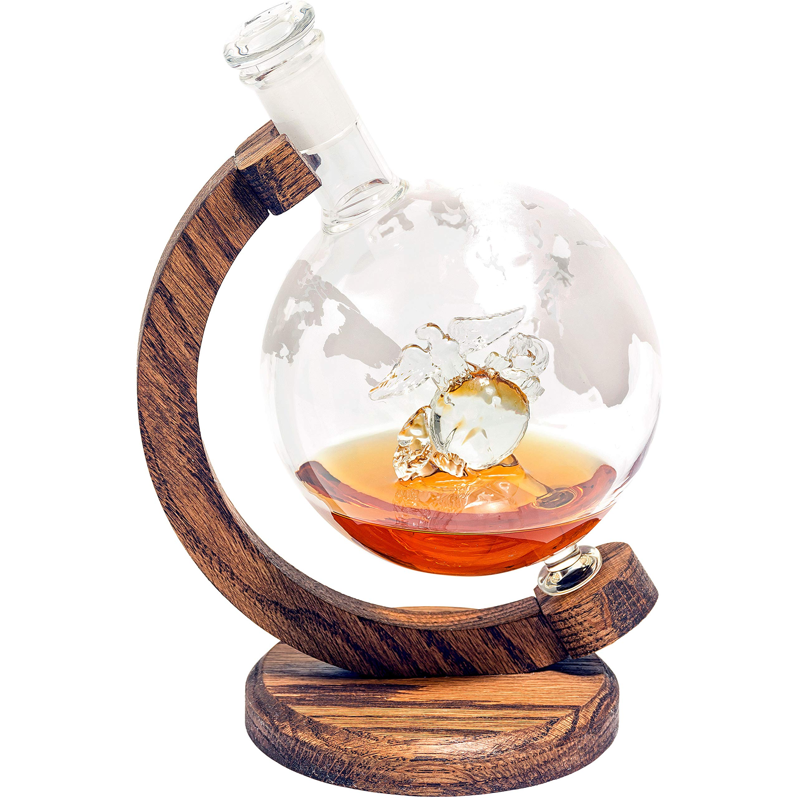 USMC Eagle Globe and Anchor - Marine Graduation Gifts & Veteran Gifts - US Marines EGA Decor Globe Whiskey Decanter (1000ml Decanter, Military Gift) Marine Corps Gifts - USMC Gifts for Men & Women