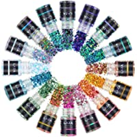 Laza Chameleon Holographic Chunky Glitter 16 Colors Craft Glitter Mixed Powder Sequins Hexagon Mix for Resin Nail Art…