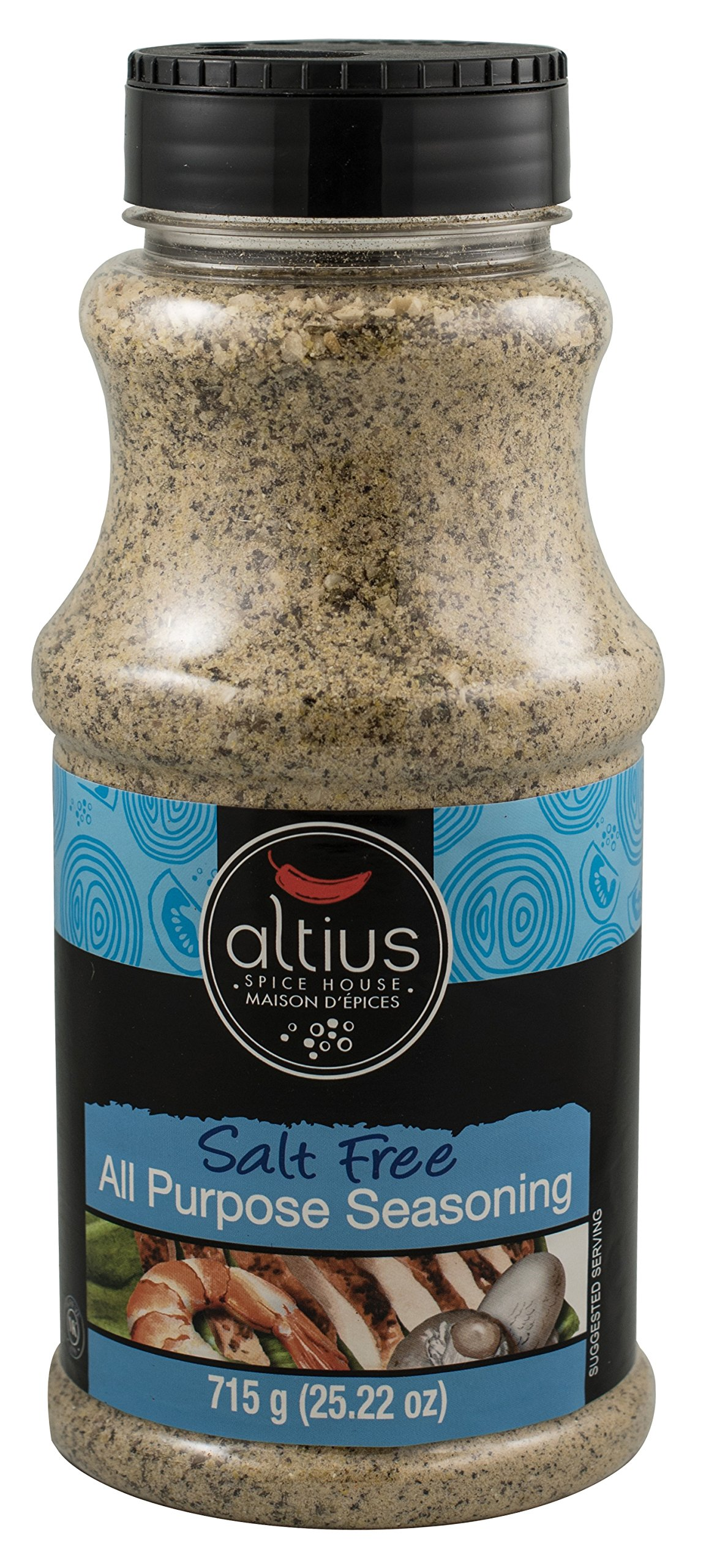 Altius Salt Free All Purpose Seasoning, Food Service Size Bottles for Vegetables, Salads, Meat, Fish and Poultry, 25.22 oz
