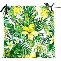 TIENDA EURASIA® Pack de 4 Cojines para Sillas - Estampado Flores Tropical - 2 Cintas de…