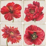CoasterStone AS9977 Florals Absorbent Coasters, 4-1/4-Inch, Red, Set of 4