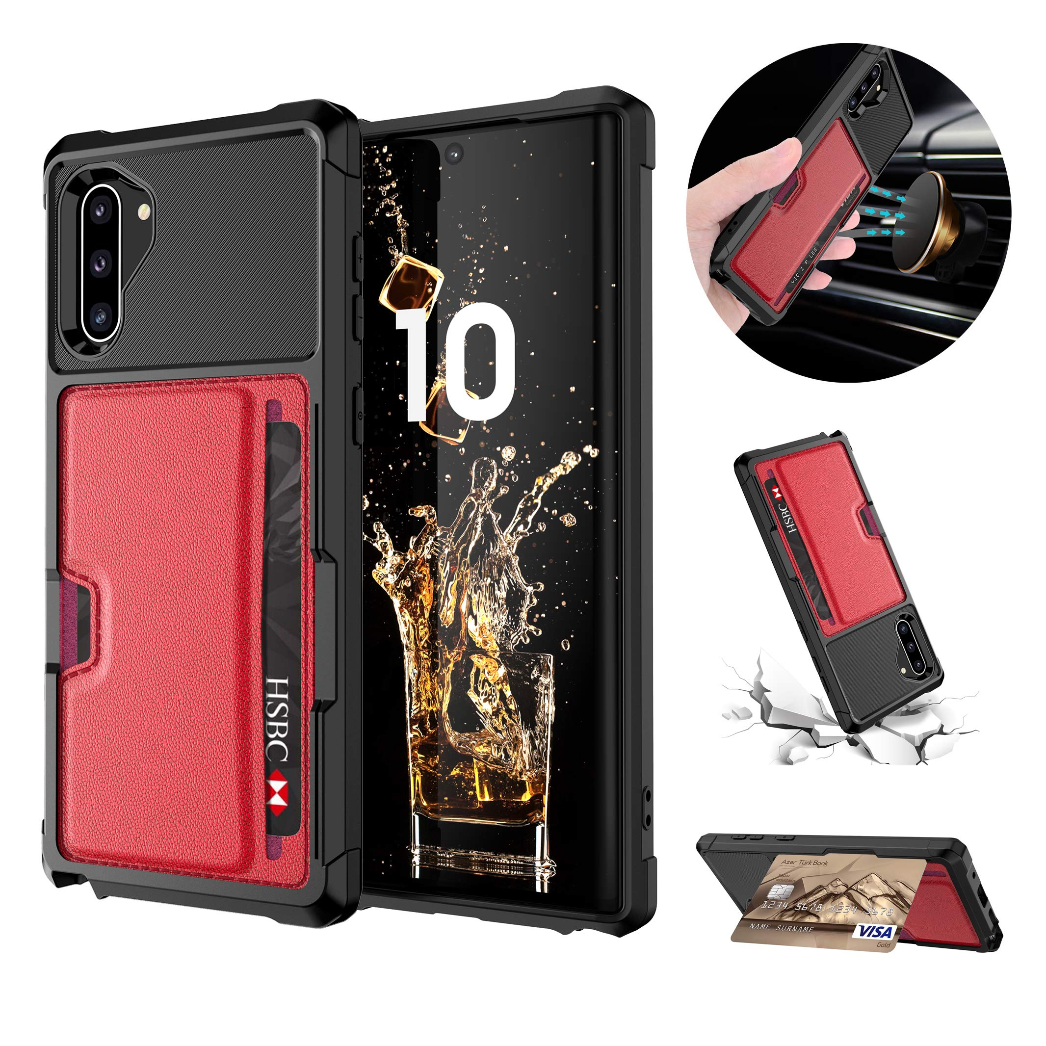 Tznzxm Galaxy Note 10 Wallet Case Slim Fit Non Slip Credit Card Kickstand Rubber [Work with Magnetic Car Mount] Durable Flip Shockproof Full Body Protective Cover for Samsung Galaxy Note 10 5G Red by Tznzxm