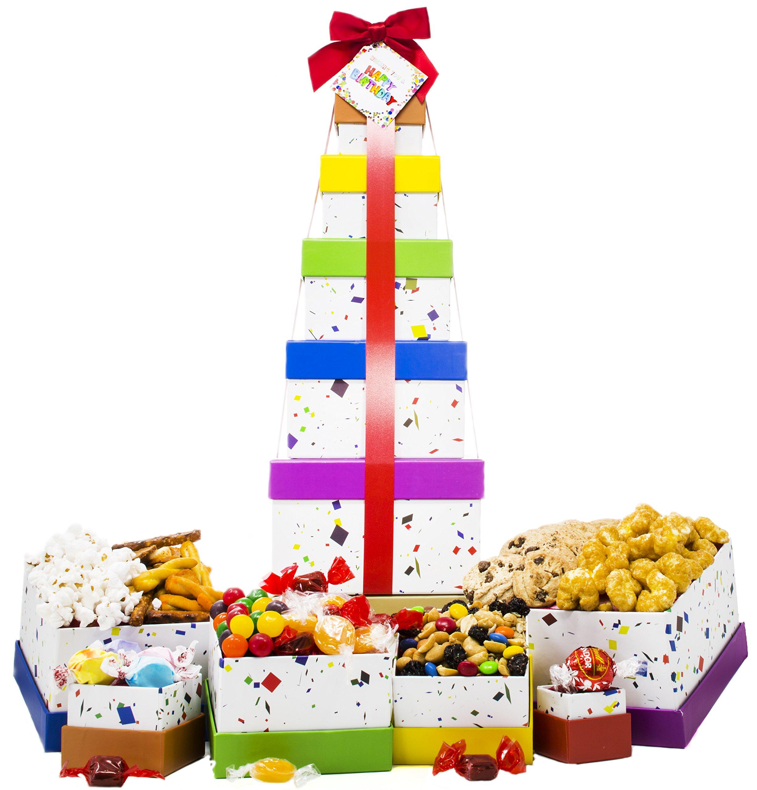 Happy Birthday Celebration Gift Basket Box Tower 16'' - 6 Tier by ALBOL Gift Baskets