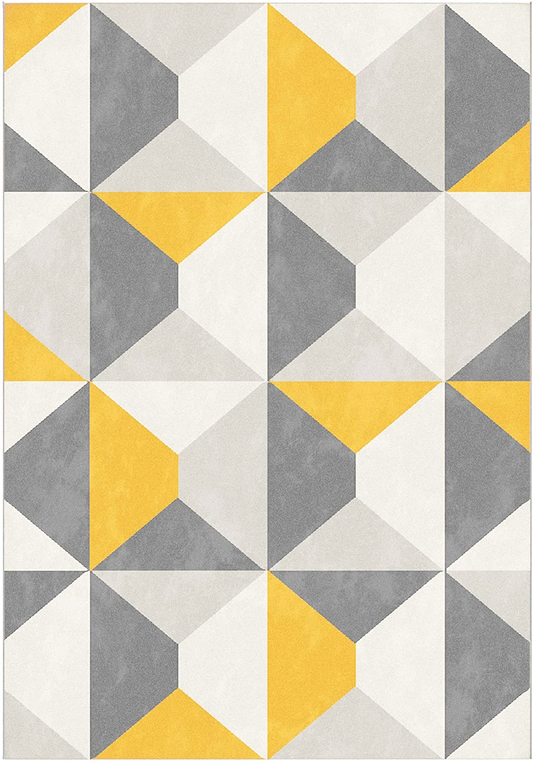 Modern Style Rugs Home Accessories in Geometric Grey, Cream, Mustard, Yellow - Diamond Pattern in Soft Touch Large Living Room Rug (Grey & Mustard, 120x170cm)