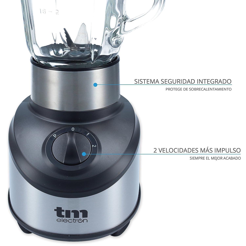 TM Electron TMPBA012 Batidora de Vaso de Cristal, 500 W, 1.5 litros, 3 Velocidades, Acero Inoxidable: Amazon.es: Hogar