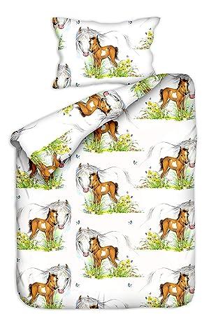 Aminata Kids Kinderbettwäsche 100x135 Mädchen Pferde Baumwolle