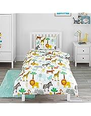 Bloomsbury Mill - Safari Adventure - Jungle Animals - Kids Bedding Set - Junior/Toddler/Cot Bed Duvet Cover and Pillowcase