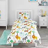 Bloomsbury Mill - Safari Adventure - Jungle Animals - Kids Bedding Set - Junior/Toddler / Cot Bed Duvet Cover and Pillowcase