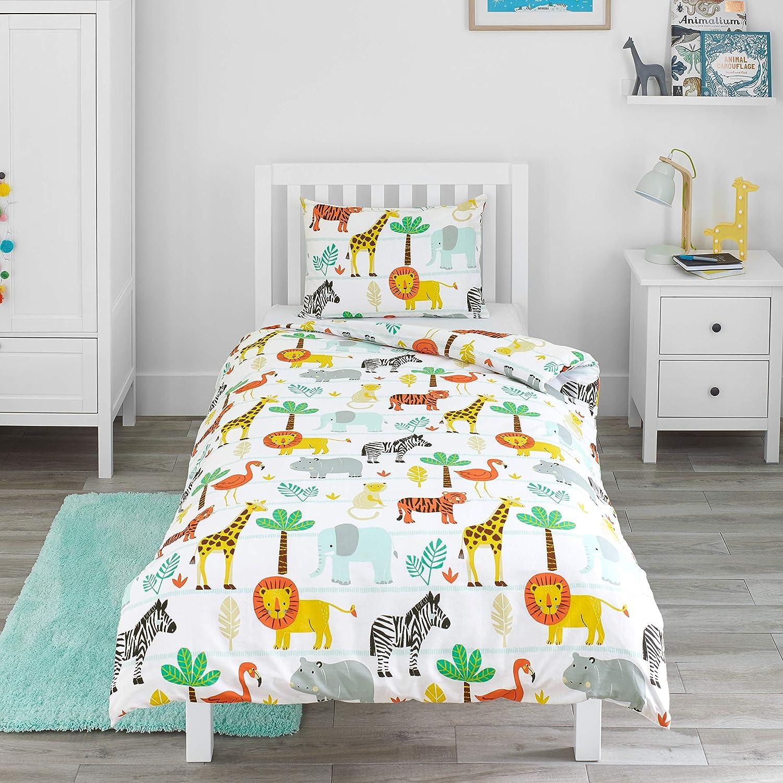Bloomsbury Mill - Safari Adventure - Jungle Animals - Kids Bedding Set - Junior/Toddler / Cot Bed Duvet Cover and Pillowcase