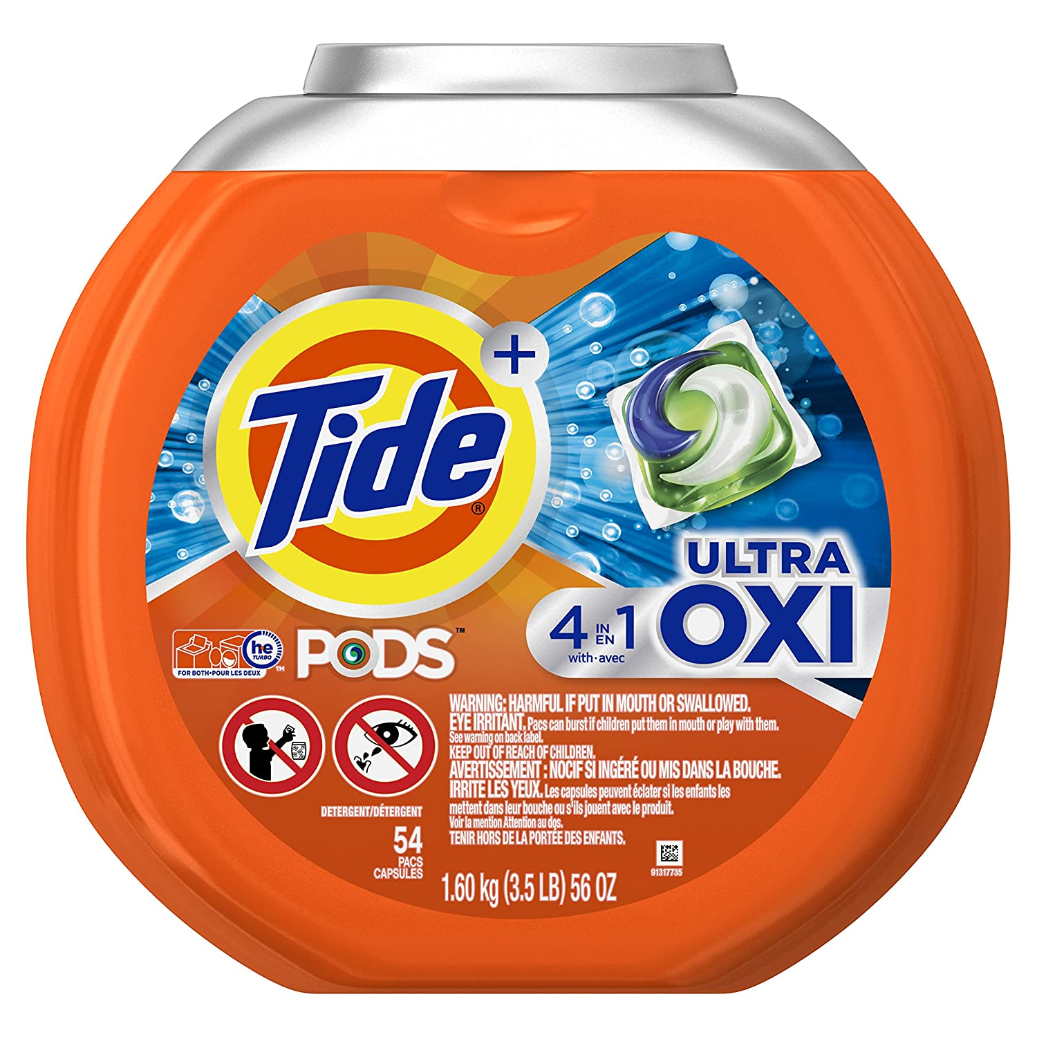Tide Pods Ultra Oxi Liquid Detergent Pacs, 54 Count
