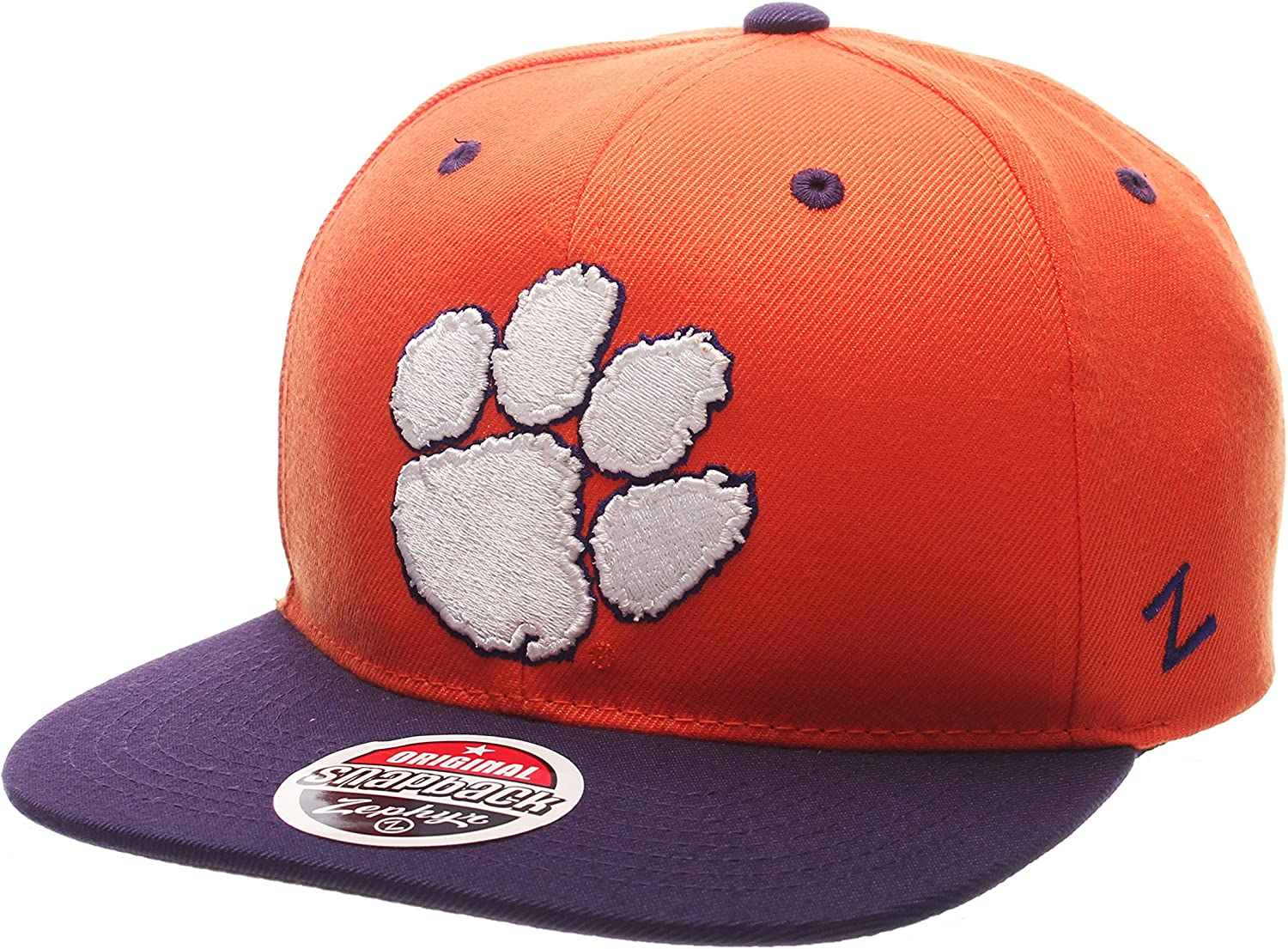 Zephyr NCAA Clemson Tigers Mens Z11 Snapback Hat Adjustable Size Team Color