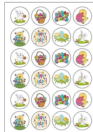 24 Vorgeschnittenen Cute Ostern Clipart Style Essbar Wafer Papier