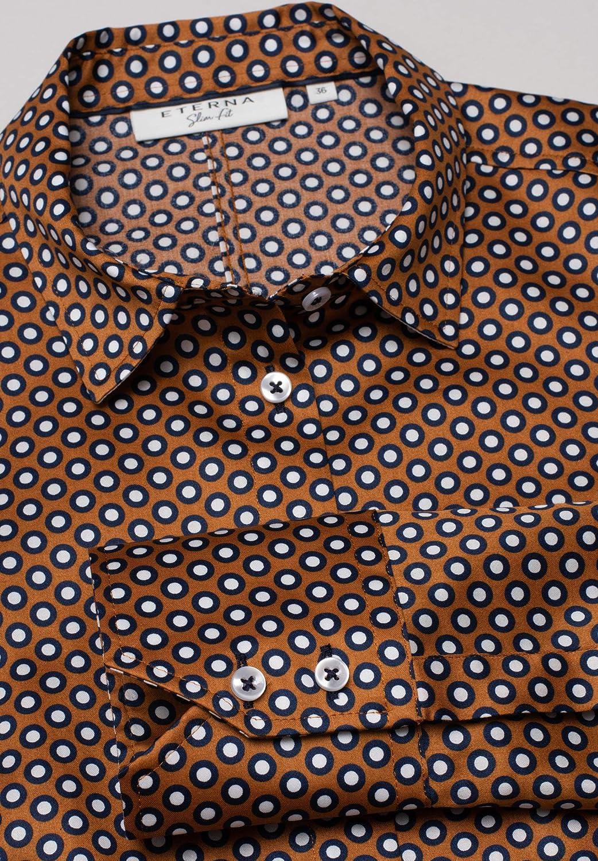 Eterna Long Sleeve Blouse Modern Classic Printed Marrone