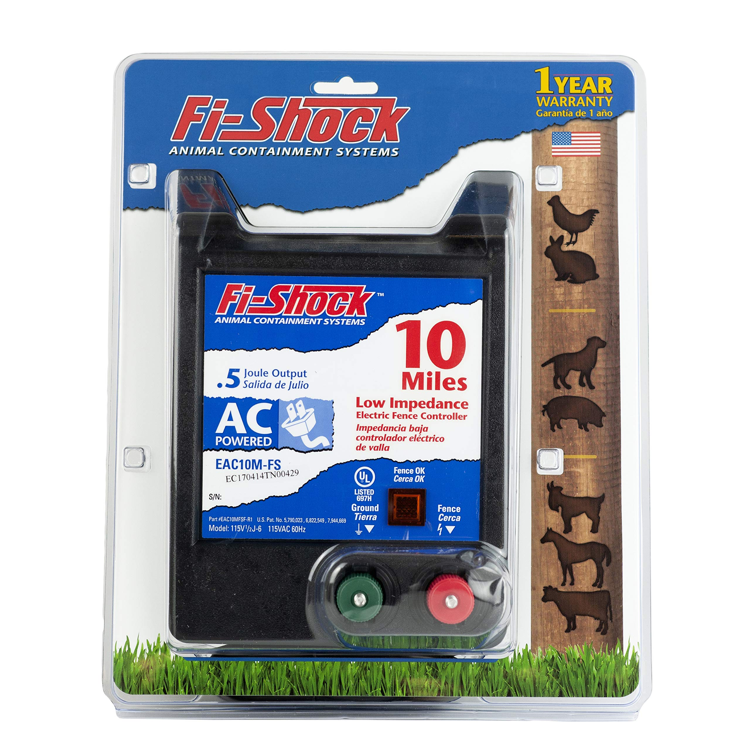 Fi-Shock EAC10M-FS 10-Mile AC Low Impedance Electric Fence Energizer by Fi-Shock