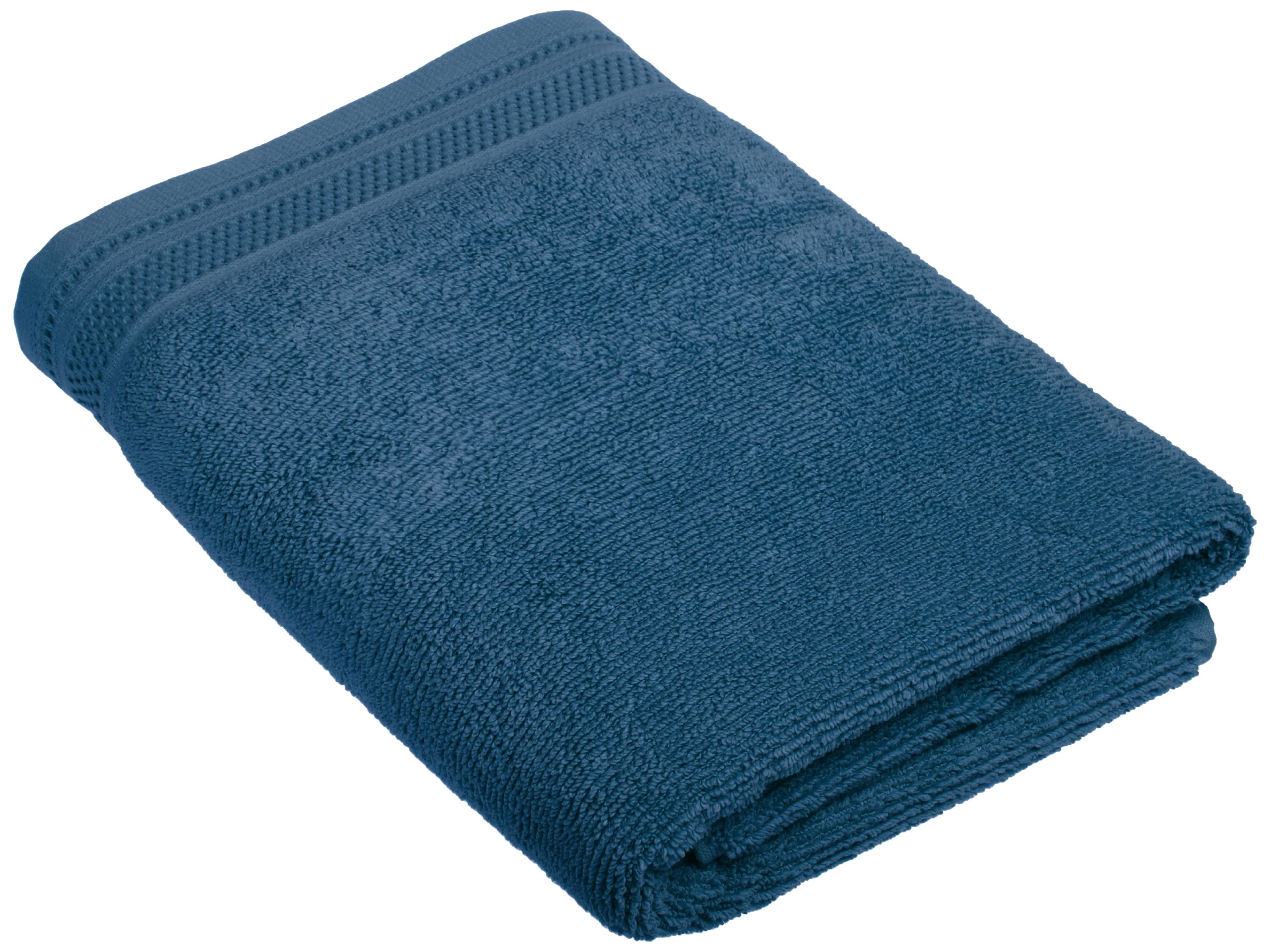 Crowning Touch Cotton Bath Towel with Unique Hem, Denim