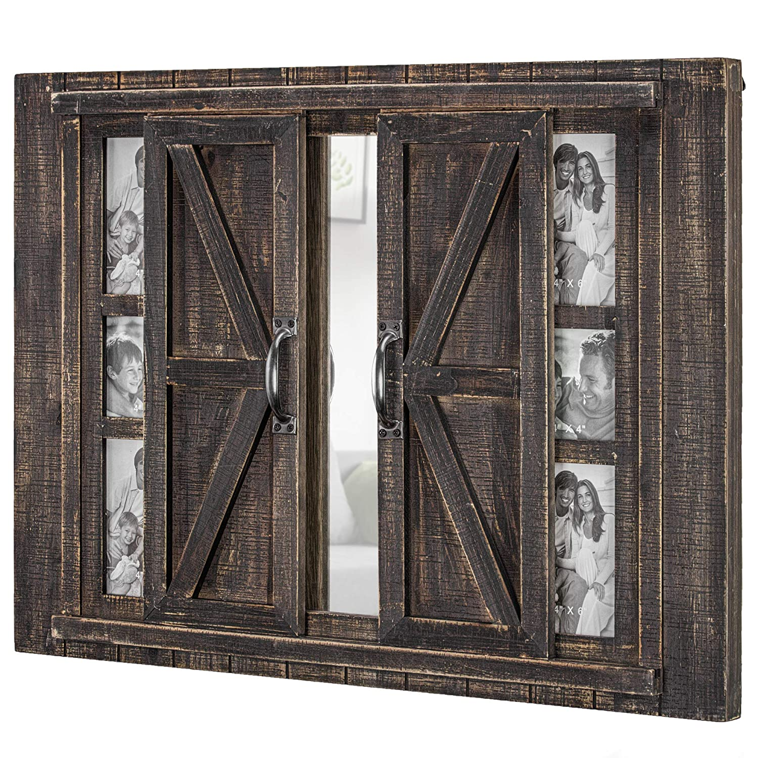 American Art Decor Rustic Wood Sliding Barn Door Photo Picture Frame And Mirror