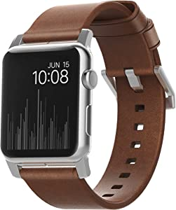 Nomad Modern Strap for Apple Watch 44mm/42mm | Rustic Brown Horween Leather | Silver Hardware