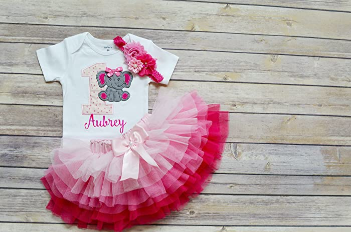 93ad41341291 Amazon.com: first birthday outfit girl,Elephant birthday outfit,pink ombre  tutu,cake smash outfit girl,personalized 1st birthday outfit for girl/toddler:  ...