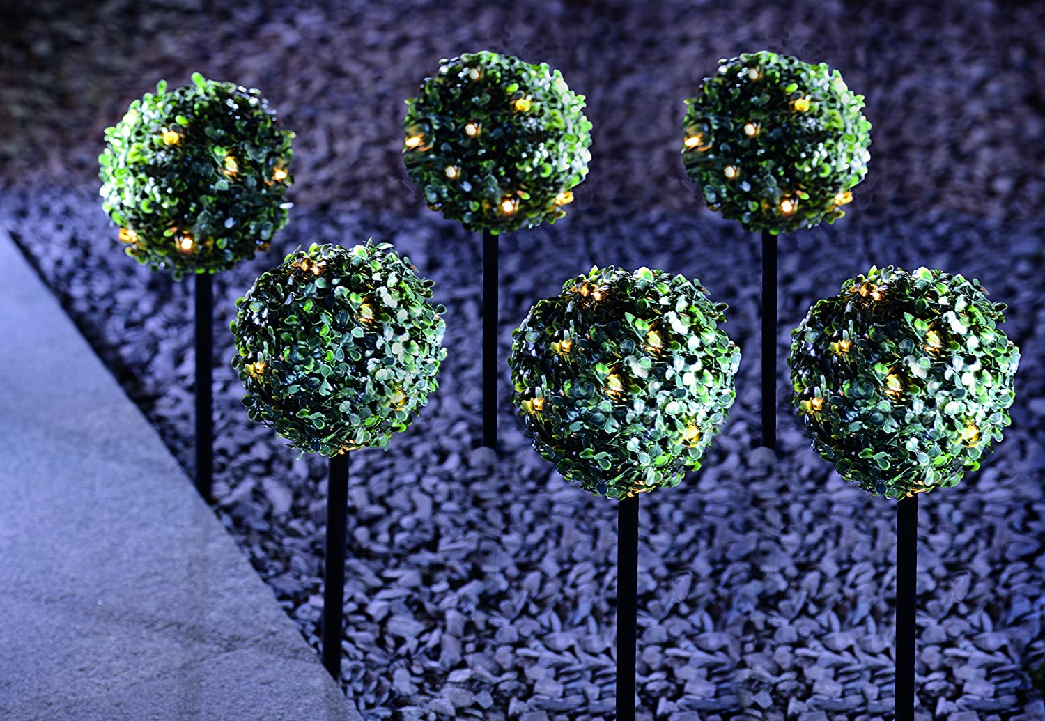 MP Essentials 6 Pack Garden Solar Light Topiary Bay Trees