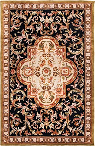 Safavieh Classic Collection CL220B Handmade Traditional Oriental Black and Beige Wool Area Rug 2 x 3