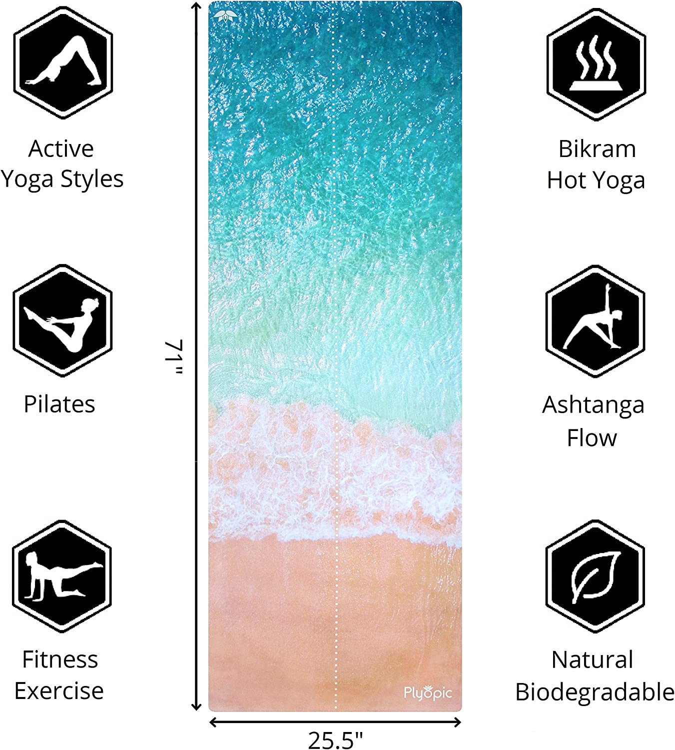 Plyopic All-in-One Yoga Mat | Luxury Sweat-Grip Mat/Towel Combo | Eco-Friendly Natural Rubber | Best for Yoga, Pilates, Exercise, Workout, Bikram and ...