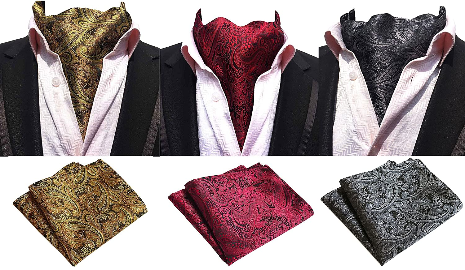 MOHSLEE Mens Luxury Paisley 3 Pack Cravat Silk Ascot Scarf Tie Pocket Square Set Fz137