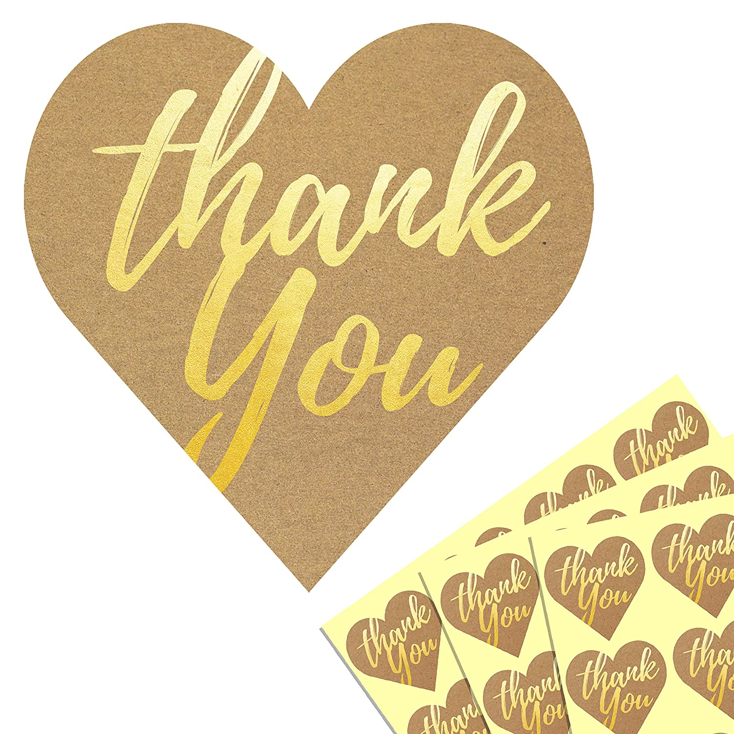 1 heart gold embossed kraft thank you sticker labels pack of 500