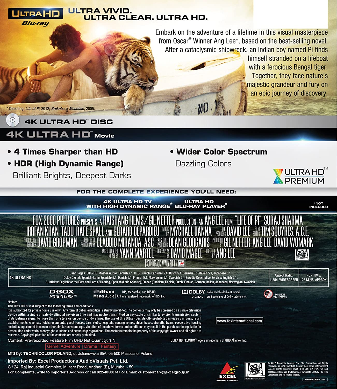 Amazon in: Buy Life of Pi (4K UHD) DVD, Blu-ray Online at Best