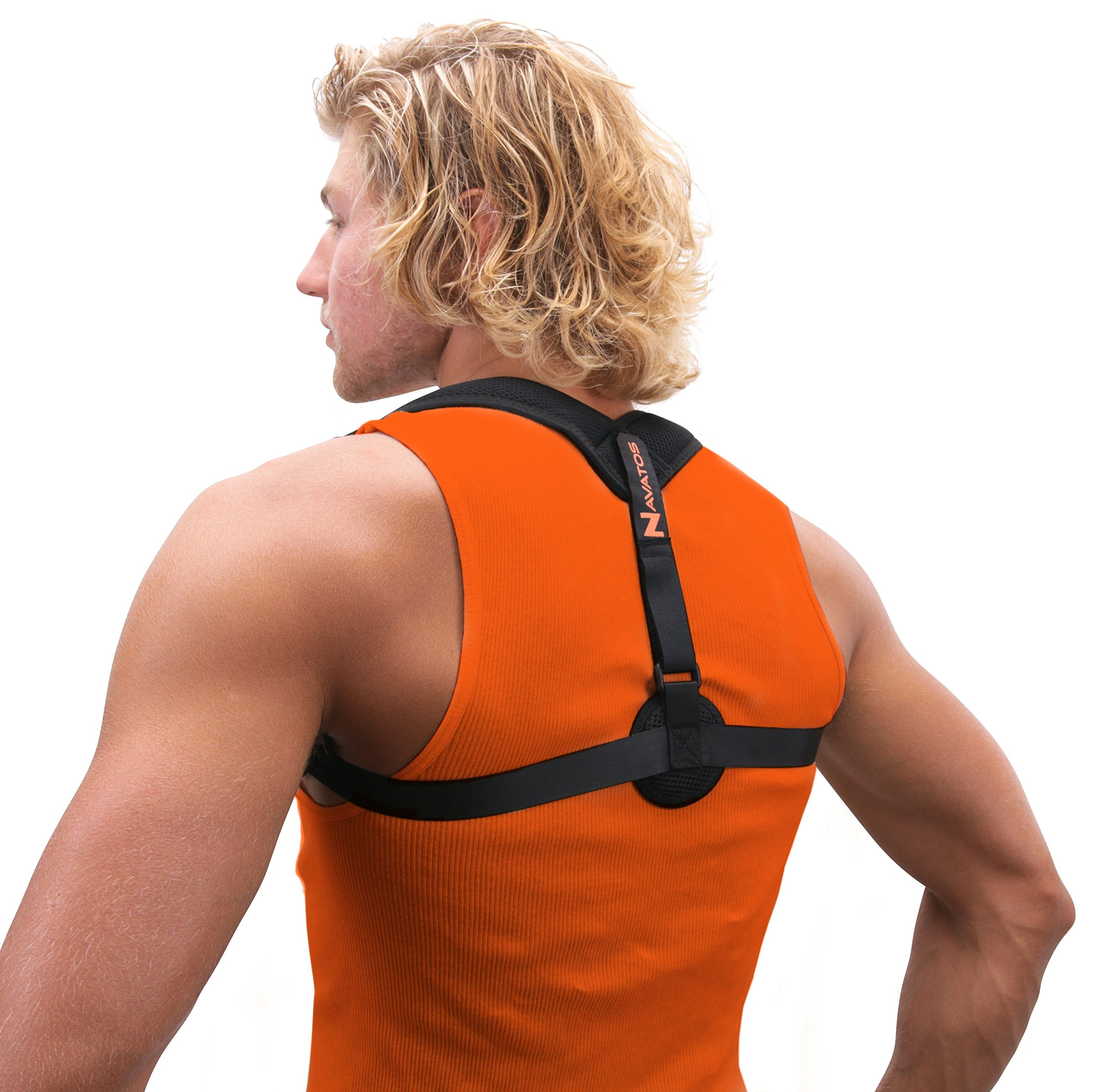 Back Posture Corrector for Men, Women, and Kids by Navatos-Fully Adjustable Professional Grade Clavicle Brace with Under Arm Pads-Breathable and Discreet Design is Unnoticeable Under Clothes