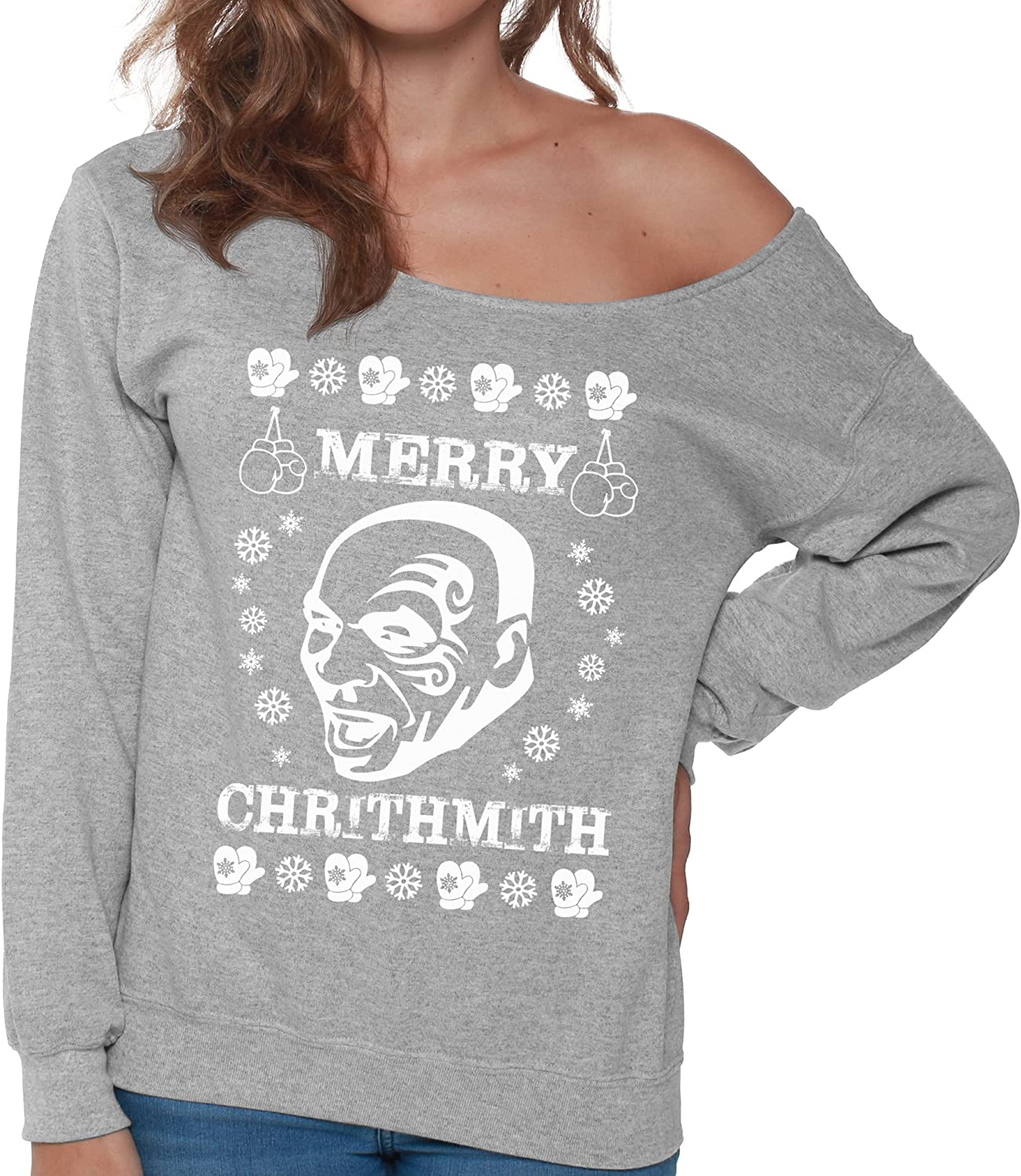 Christmas Sweater for women Off Shoulder Merry Chrithmith Sweatshirt Xmas Gifts
