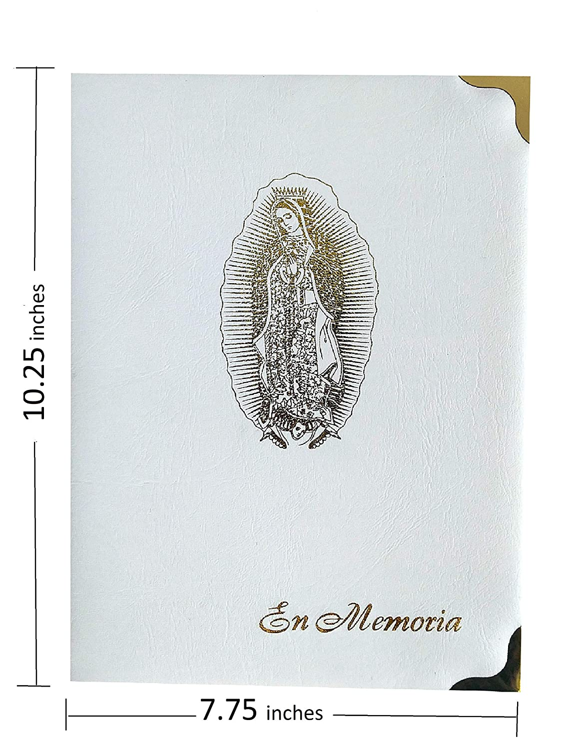 """/""""En Memoria/"""" Memorial Book Celebrating Life Spanish Our Lady Guadalupe Ivory 7.25x10 Inches at Ease Funeral Guest Books"""